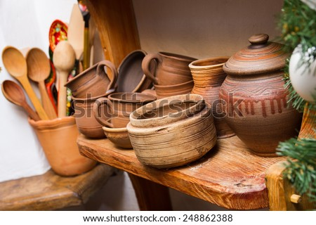 traditional clay pottery earthenware, ceramic dishware - stock photo