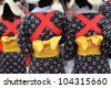 Traditional clothes of kimono, closeup of back view - stock photo