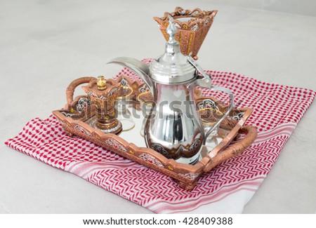 Traditional coffee in Dallah - stock photo