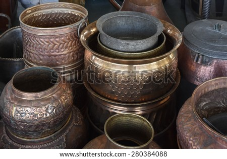 Traditional Coffee Pots, Vases & Copper Jugs - stock photo