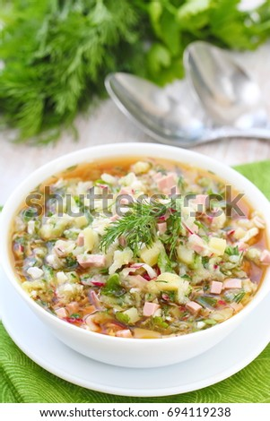 Traditional cold summer soup with vegetables - okroshka. Russian cuisine.