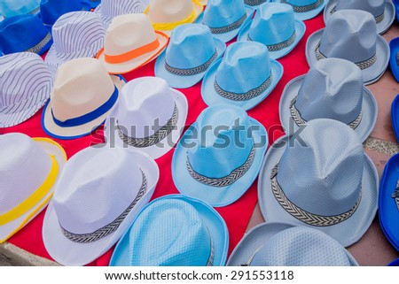 Traditional Colombian colorful straw hats from street vendors in Colombia's most important folklore celebration, the Carnival of Barranquilla, Colombia