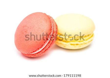 Traditional Colored French Macaroons Isolated On White - stock photo