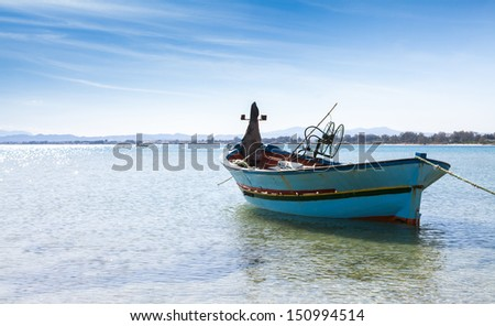 Traditional colorful fishing boat in the  Mediterranean sea