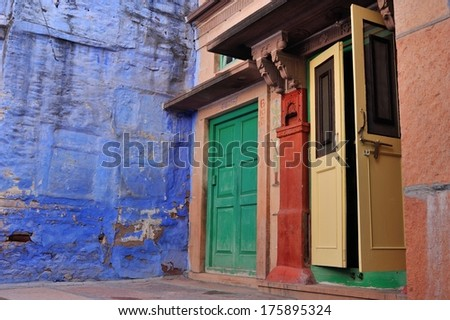 traditional colorful house in Jodhpur, Rajasthan, India - stock photo