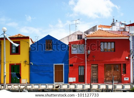 Traditional colorful houses in Aveiro, Portugal