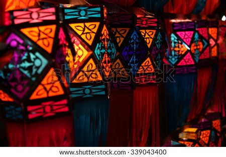 Traditional colorful lanterns lit up on the occasion of Diwali  festival in India