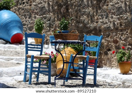 Traditional colors for Greek architecture - stock photo