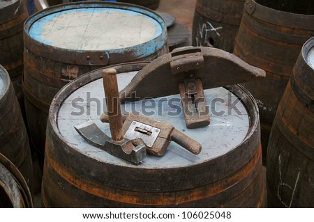 traditional cooperage tools on a whisky cask in scotland