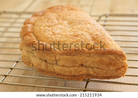 Traditional Cornish pasty freshly baked on a cooling rack - stock photo