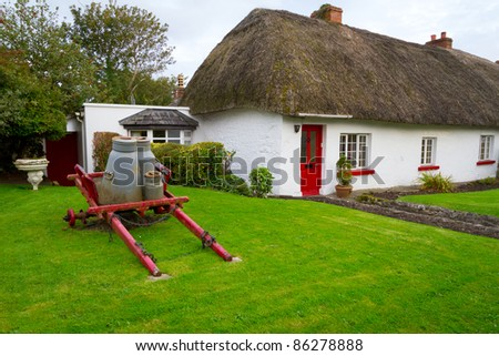 Traditional cottage houses in Adare, Co. Limerick, Ireland - stock photo