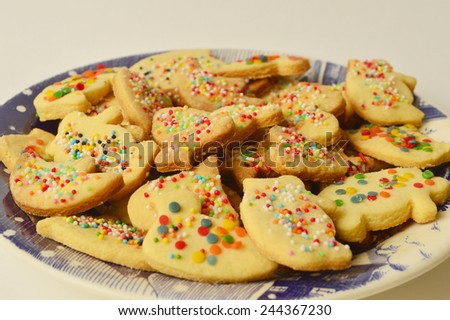 Traditional decorated Christmas cookies with cinnamon. - stock photo