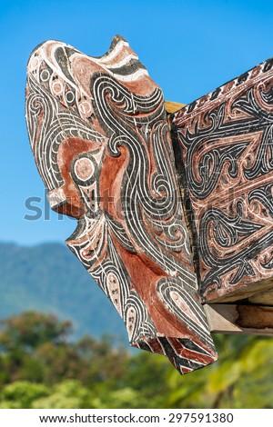 Traditional decoration of Batak house on Samosir island, Sumatra, Indonesia, Southeast Asia - stock photo