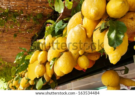 Traditional delicious Italian lemons on Capri island, Naples, Italy  - stock photo