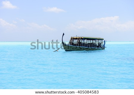 Traditional Dhoni boat in Maldives