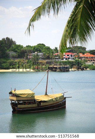 Traditional dhow on Mombasa river Kenya Africa - stock photo