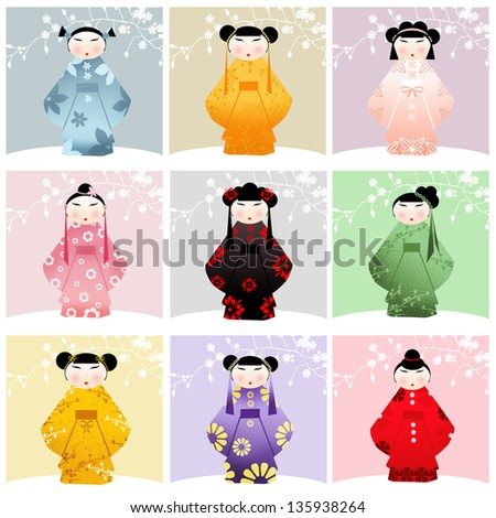 traditional dolls collage - stock photo