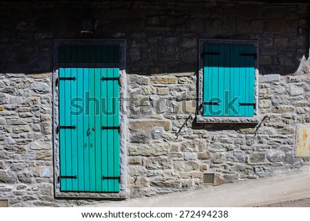 Traditional door and window in Chianti, Tuscany, Italy - stock photo