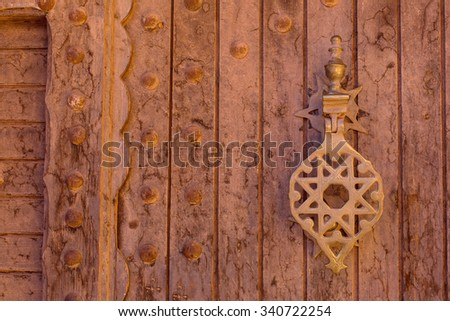 Traditional door in Morocco - stock photo