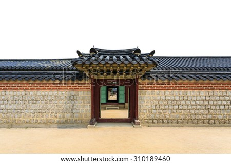 Traditional door, wall and roof korean style on isolated white background in south korea - stock photo