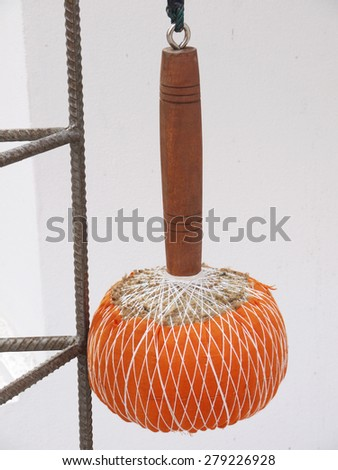 Traditional drum in Buddhist Gong and cymbals - stock photo