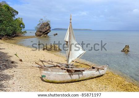Traditional Dugout Canoe, Lamen Bay, Epi Island, Vanuatu - stock photo