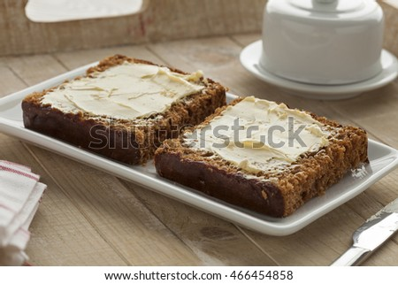 Traditional dutch breakfast cake with butter