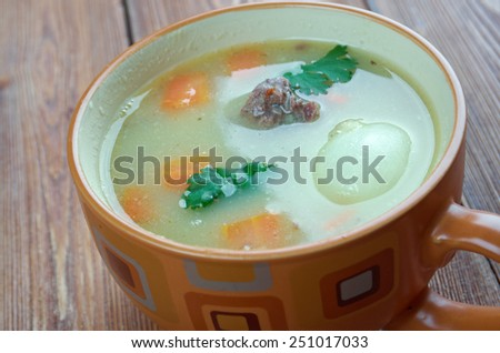 Traditional Dutch Pea Soup - Snert. close up