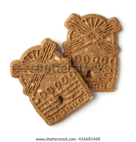 Traditional dutch speculaas cookies on white background