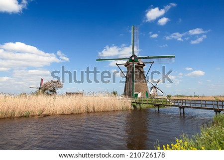 Traditional dutch windmills near Kinderdijk - stock photo