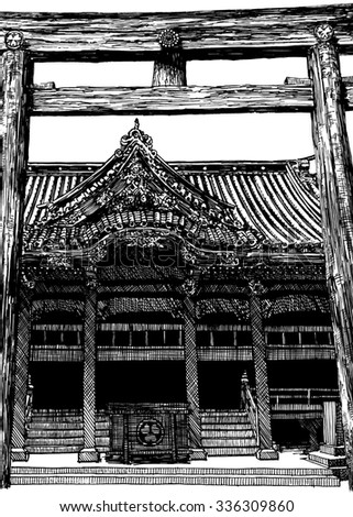 Traditional east Japan shrine architecture. Black and white dashed style sketch, line art, drawing with pen and ink. Retro vintage picture.