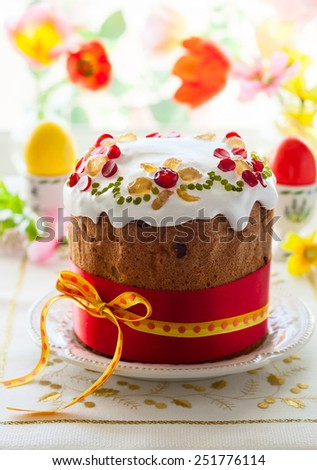 Traditional Easter cake with the candied fruits - stock photo
