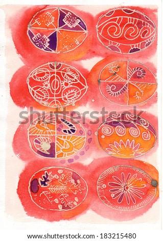 Traditional Easter egg, watercolor. Ukrainian folklore. - stock photo