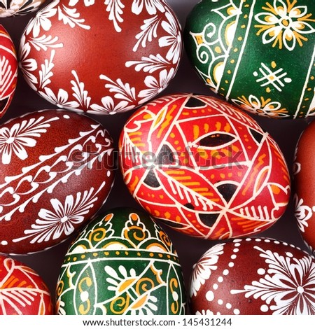 Traditional Easter eggs close-up. - stock photo