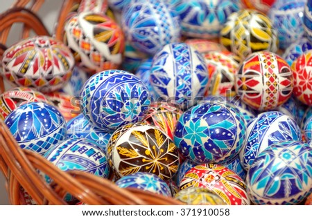 Traditional easter eggs hand painted - stock photo