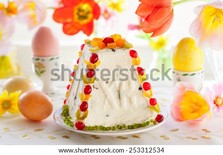 Traditional Easter quark dessert with the candied fruits - stock photo