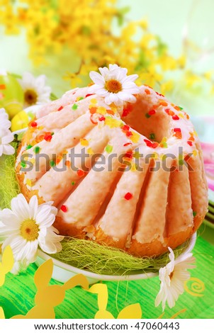 traditional easter ring cake with glaze