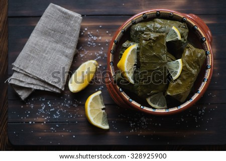 Traditional eastern grape leaves with meat and rice stuffing, top view - stock photo