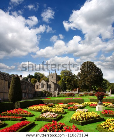 Traditional English countryside with Old house, Lanhydrock, Cornwall - stock photo