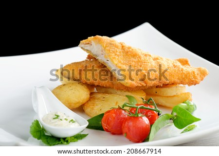 Traditional English food - Fish and chips - stock photo