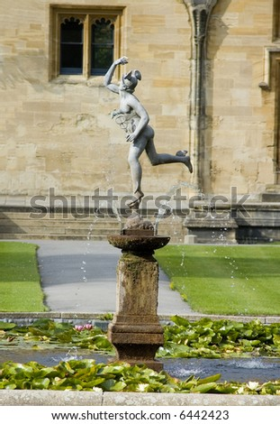 Traditional English fountain at Christchurch university - stock photo
