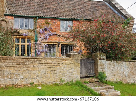 Traditional English Village Cottage and garden with Climbing Wisteria on the Wall and stone wall