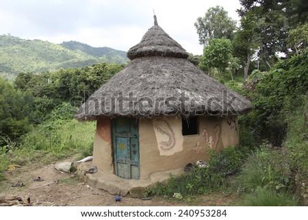 Traditional Ethiopian hut. Jinka. Ethiopia.  - stock photo