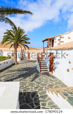 Traditional farm house built in Canary style in Valle de Santa Ines village, Fuerteventura, Canary Islands, Spain
