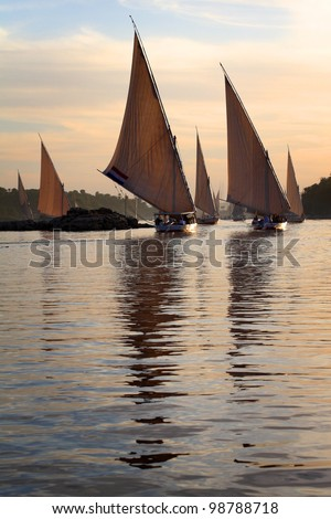 Traditional feluccas on Nile, Egypt - stock photo
