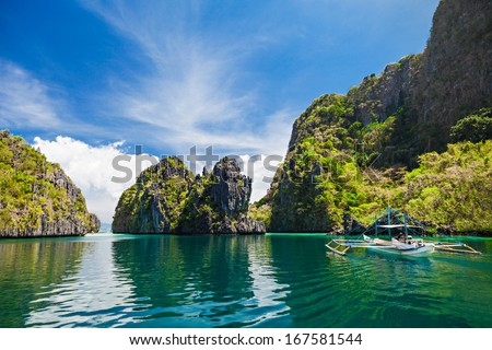 Traditional filippino boat in the sea, Philippines - stock photo
