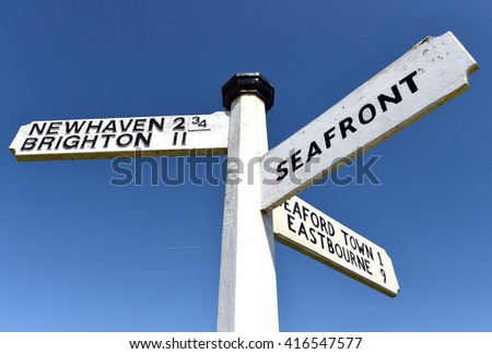 Traditional finger post road signs, Seafoed, Brighton, Newhaven
