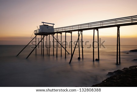 traditional fisherman's hut in the south west of France, royan - stock photo