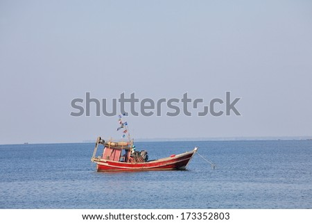 Traditional fishing boat in the Bay of Bengal, Myanmar
