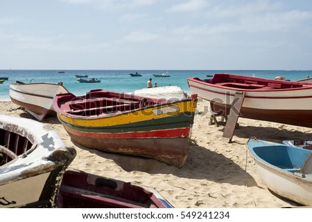 Traditional fishing boat of Cape Verde. Santa Maria, Sal